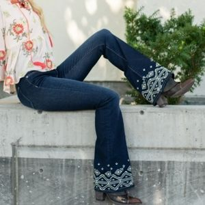 NWT MISS ME EMBELLISHED FLARE LONG STRETCHY JEANS